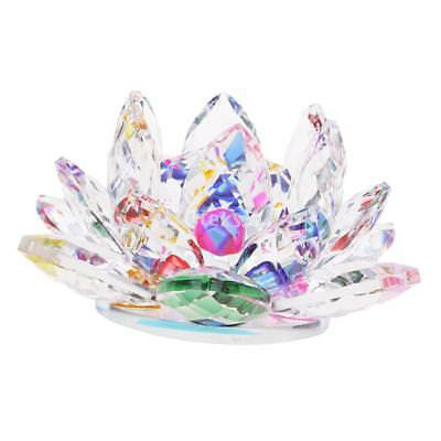 """4"""" Crystal Glass Lotus Flower with Gift Box Feng Shui Ornament Decor Colored"""