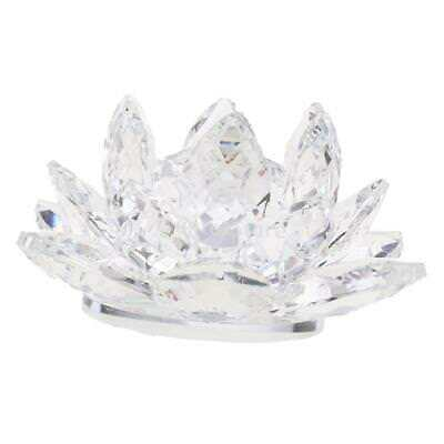 """4"""" Crystal Glass Lotus Flower with Gift Box Feng Shui Ornament Decor Clear"""