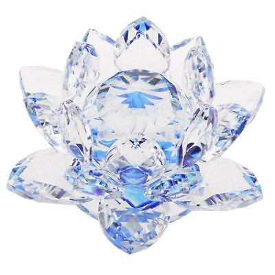 """4"""" Crystal Glass Lotus Flower with Gift Box Feng Shui Ornament Decor Blue"""