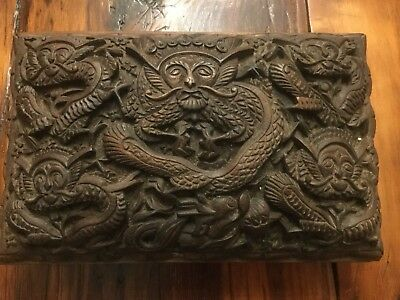 Best Antique Chinese Highly Carved Wooden Faces Dragon'sJewelry Box Wood