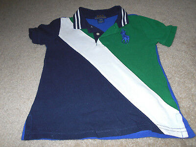 GUC! Ralph Lauren Baby Boy 3T Green/White/Blue  Big Pony Polo