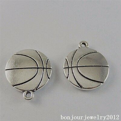 50760 Vintage Silver Alloy Cool Basketball Pendants Charms Findings Crafts 3pcs