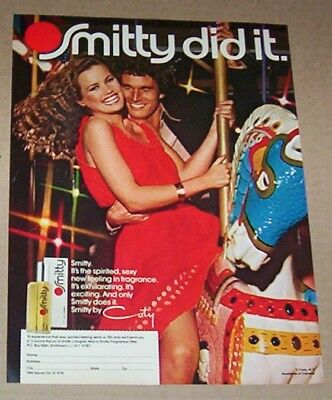1978 print ad page - Coty SMITTY cologne Advertisement carousel horse Cute girl