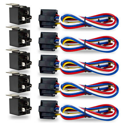 10PCS/SET CAR 30/40 AMP Relay Automotive Harness Socket 5 Wire SPDT 5 Pin  DC 12V