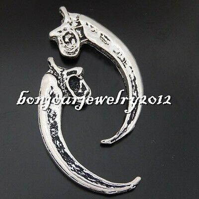 50482 Vintage Silver Alloy Bull Ox Horn Pendants Findings Crafts Charms 5 PCS