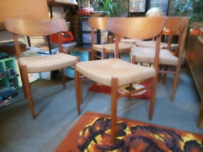 Danish Dining Chairs Paper Cord Seats 1960s AM Mobler