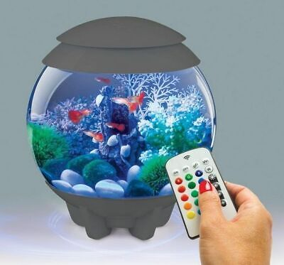 Biorb Halo Grey 15L Mcr Multicolour Remote Led Aquarium Bowl Fish Tank Coldwater