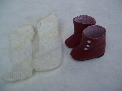 Alte Puppenkleidung Schuhe Vintage Red Boots Shoes Socks 40 cm Doll 5 cm