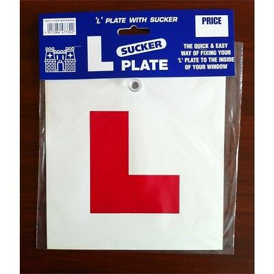 L Plate With Sucker Single - Plates Driving Lesson Gift Learner Driver Front