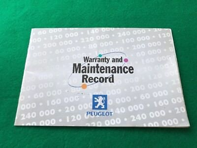PEUGEOT WARRANTY AND MAINTENANCE RECORD BOOK SERVICE Used With Stamps 2001