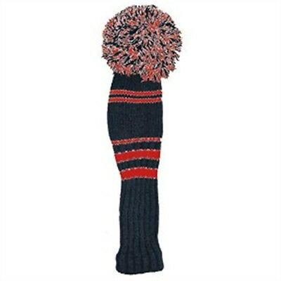 Black & Red Pom Pom Golf Club Head Cover - Driver Longridge Knitted Head Colours