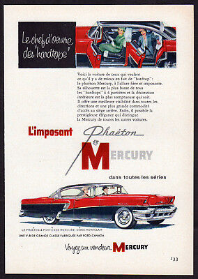 1956 MERCURY Phaeton Montclair Vintage Original small Print AD Red car art Fr Ca