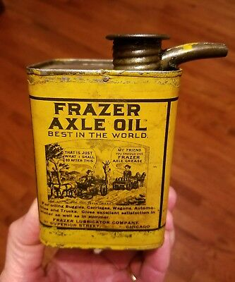Early 1900s Frazer Axle Oil Can For Automobiles, Buggies, Carriages Rare