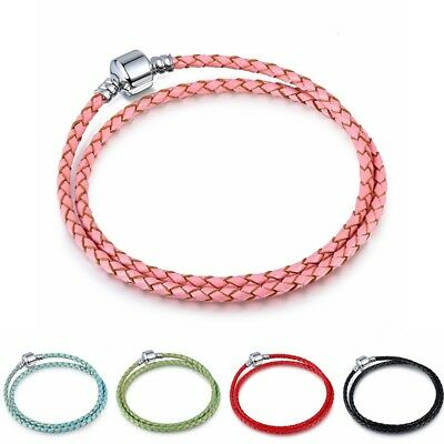 Double Wrap Genuine leather Bracelet Bangle Fit European Charms Beads Buckle