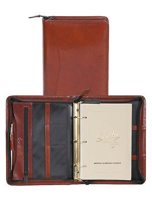 Scully Italian Leather 3 Ring Zippered Monthly & Weekly Planner Agenda Cognac