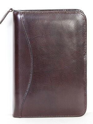 Scully Italian Leather 3 Ring Zippered Monthly & Weekly Planner Agenda Burgundy
