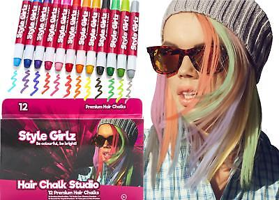 Style Girlz 12 Premium DIY Hair Chalks Pens Girls/Kids Temporary Wash-out Colour