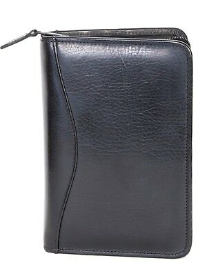 Scully Nappa Leather 3 Ring Zippered Monthly & Weekly Planner Agenda Black