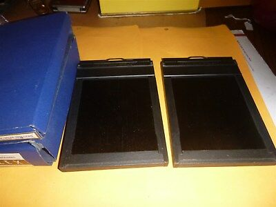 Two vintage Graflex Grafmatic 4x5 sheet film holders with original boxes type 5
