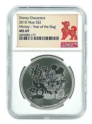 2018 Niue 1oz Silver Disney Mickey Mouse - Year Of the Dog NGC MS69