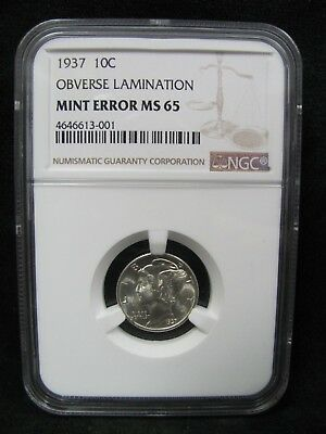 1937 Mercury Dime - NGC MS 65 with Obverse Lamination - Mint Error