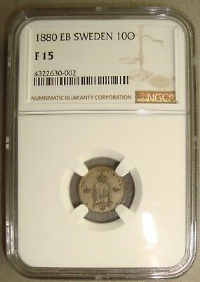 1880-EB Sweden Silver 10 Ore NGC F15