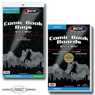 100 - BCW CURRENT Resealable Polypropylene Comic Book Bags & MODERN Boards!