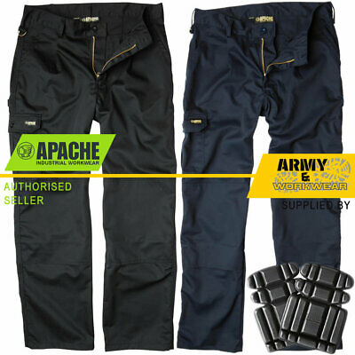 Apache Industry Pro Work Mens Pants Trousers Cargo Combat Pockets FREE KNEE PADS