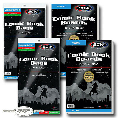 200 - BCW MODERN Backing Boards & THICK RESEALABLE 2-Mil Poly Comic Book Bags!