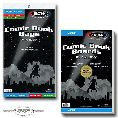 100 - BCW CURRENT THICK Resealable Polypropylene Comic Book Bags & MODERN Boards