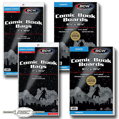 200 - BCW MODERN Backing Boards & THICK 2-Mil Polypropylene Comic Book Bags!