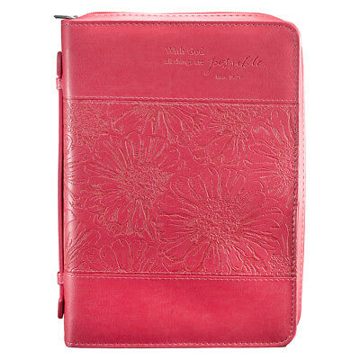 """Bible Cover NEW """"With God All Things Possible"""" Matt. 19:26 Large Pink LuxLeather"""