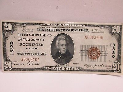 Series 1929 Us $20 Frb Of Rochester Ny National Banknote