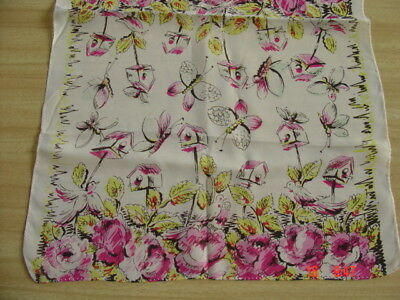 """Vtg Scarf ~ Spring Time ~ Birdhouses, Butterflies, Pink Roses ~ 13"""" x 40"""""""