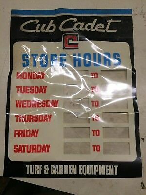 Vintage Cub Cadet Sticky Store Hours Window Door Sign