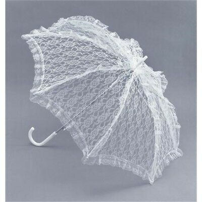 White Lace Victorian Parasol - Fancy Dress Accessory Ladies Umbrella Costume