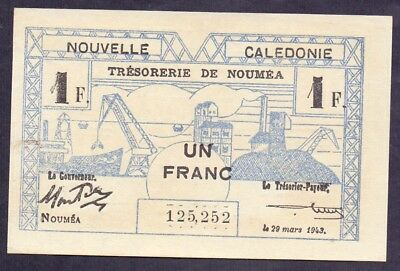 1 Franc From New Caledonia 1943 Unc B5