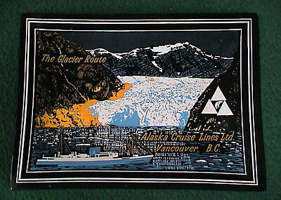 Vintage Alaska Cruise Lines Glacier Route Smoked Bent Glass Tray