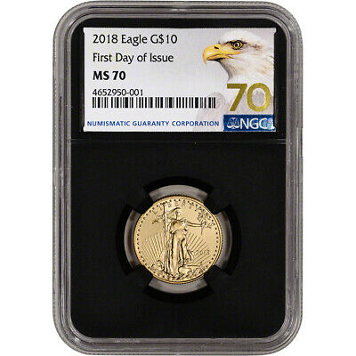 2018 American Gold Eagle (1/4 oz) $10 - NGC MS70 First Day Issue Grade 70 Black