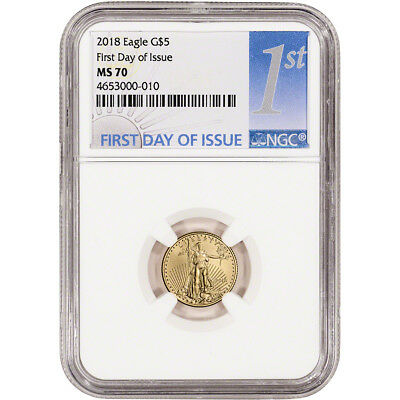 2018 American Gold Eagle (1/10 oz) $5 - NGC MS70 First Day of Issue 1st Label