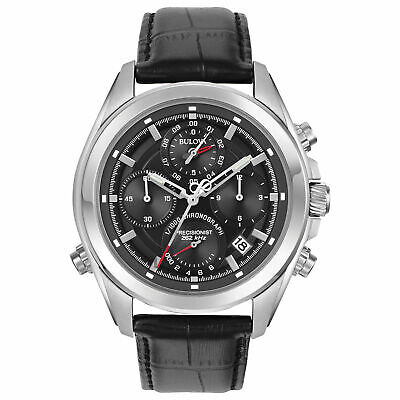 Bulova Precisionist 96B259 Men's Black Stainless Leather Chronograph Watch