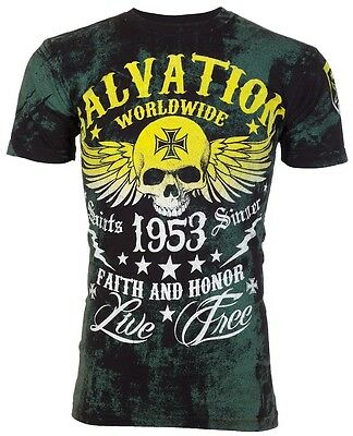 ARCHAIC by AFFLICTION T-Shirt BLACK TIDE Skull Tattoo Motorcycle Biker $40 c
