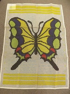 Vtg 1971 NEW Spinnerin 34x48 Butterfly Printed Latch Hook Rug Mesh Pattern Retro