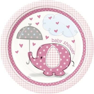 Unique Party 9 Inch Pink Plates - Umbrellaphants - Baby Shower Tableware Girl 8