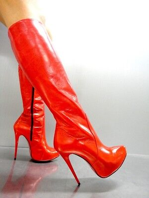 Mori Italy Platform New Heels Knee High Boots Stiefel Stivali Leather Red Rosso