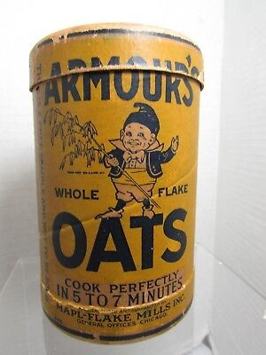 Antique 1900s Armour's Oats Oatmeal Container Fairy Brownie Elf  Free Sample