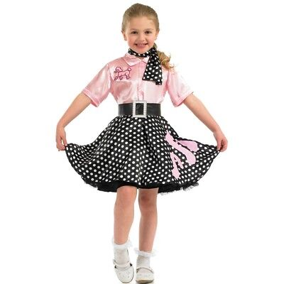 Large Children's Rock N Roll Costume - Dress Fancy Girls 50s Poodle Outfit Kids