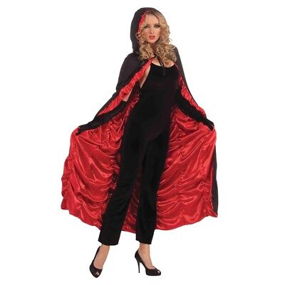 Red & Black Adult's Coffin Cape - Fancy Dress Vampire Halloween Ladies Costume