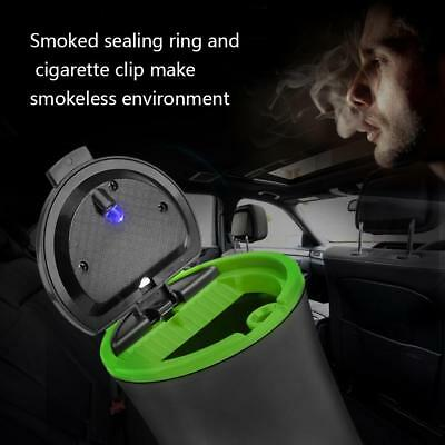 VS2# Car LED Light Ashtray Aluminum Cigarette Ash Cup Cylinder Holder (Green)