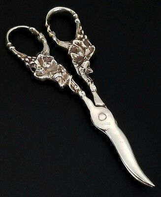 Antique Art Nouveau Solid Sterling Silver Grape Shears Scissors